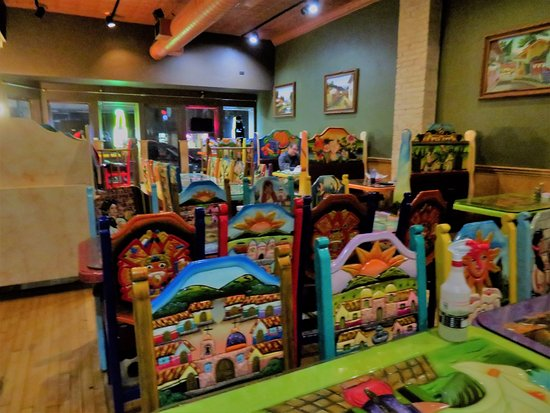 Columbus, WI: Colorful hand carved chairs brought up from La Tolteca's former location in Sun Prairie.