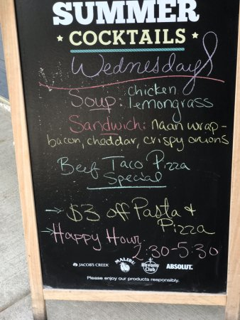 Daily specials sandwich board, Fluid Bar and Grill, 1175 Cliffe Ave, Courtenay, BC