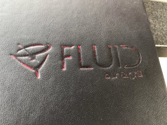 Menu cover, Fluid Bar and Grill, 1175 Cliffe Ave, Courtenay, BC