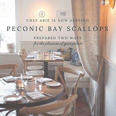 Water Mill, Estado de Nueva York: Peconic Bay Scallops Chef Arie Style!