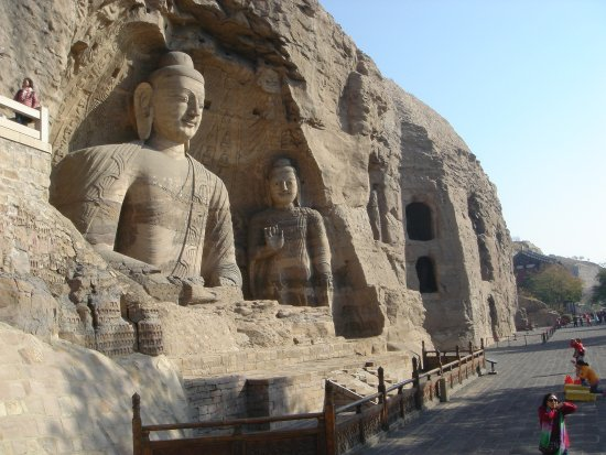 Datong, China: Outside scuplture carved in the rock