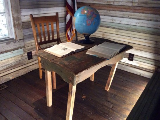 Brownsville, TN: Teachers desk in Tina Turners classroom at Flagg Grove School.