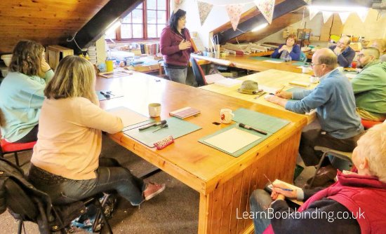 Barnstaple, UK: Giving on a talk on the history of bookbinding