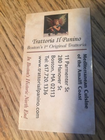Business Card Picture Of Trattoria Il Panino Boston Tripadvisor
