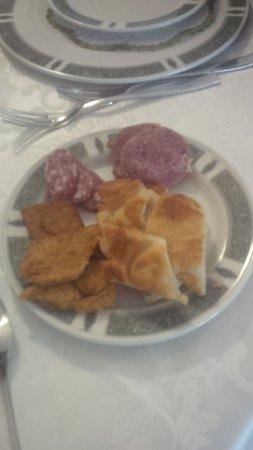 Province of Cuneo, Italy: focaccina cotta e polenta fritta, salame crudo e cotto