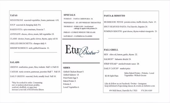 Danville, PA: New Menu starting Nov. 21st 2017...Open Tues-Fri. from 5-8 PM...entree prices range from $19 to
