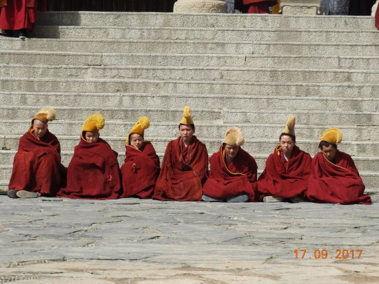 Xiahe County, China: Monks of the Yellow Hat Buddhist faith..
