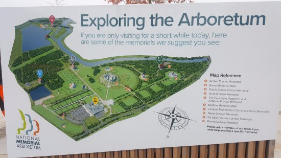 National Memorial Arboretum Map 150 acres,50,000 trees,300 war memorials   Picture of National