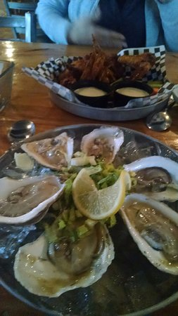 Hallowell, ME : Beer braised wings and oysters.