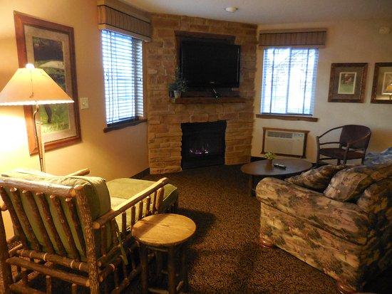Saint Joseph, MO: Living area with gas fireplace