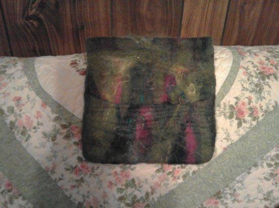 Gloucester, VA: Felt purse made from wool and silk fibers