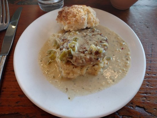 Fort Collins, CO: The Sausage and Biscuit sold in the Café on the first floor.