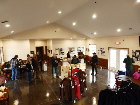 Romulus, NY: Visitors gather in the Welcome Center before their tour.