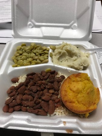Pascagoula, MS: Red beans and rice, baby limas, mashed potatoes and a jalapeño cornbread muffin. Hit the spot!