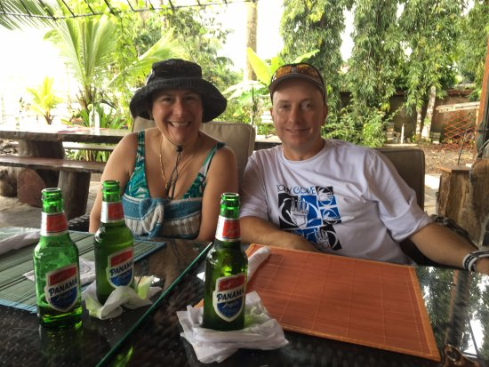 Portobelo, Panama/Panamá: Lunch with friends after diving with Golden Frog Scuba.