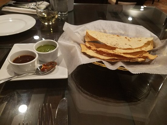 Complimentary paperdum with chutneys picture of monsoon - Chutneys indian cuisine ...