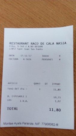 Sant Joan les Fonts, İspanya: Recibo comida