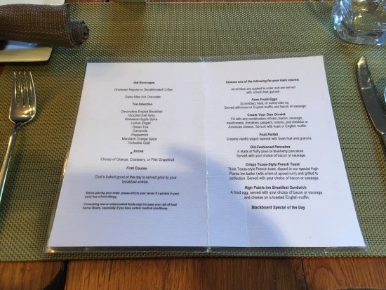 West Barnstable, Массачусетс: Breakfast Menu.