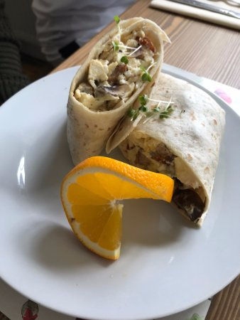 High Wycombe, UK: The Red Lion Breakfast Burrito - exclusive to us and inspired from breakfasts in the Cayman Isla