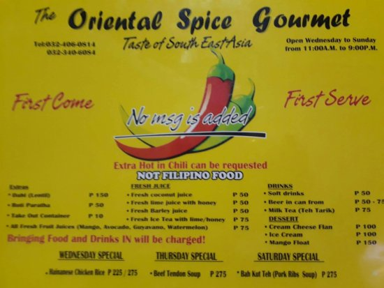 The Oriental Spice Gourmet: Looks like the menu has been updated.