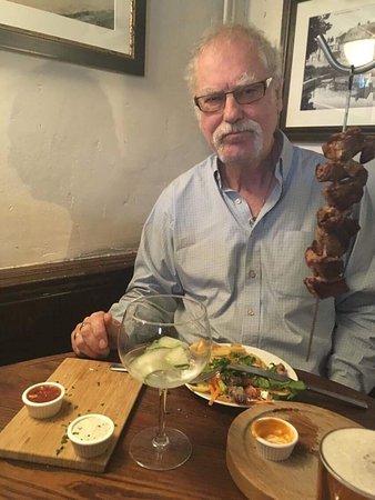 Aston Clinton, UK: Lamb kebab, suspended on a hook