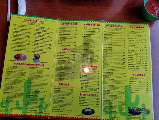 The Lazy Donkey Menu Inside