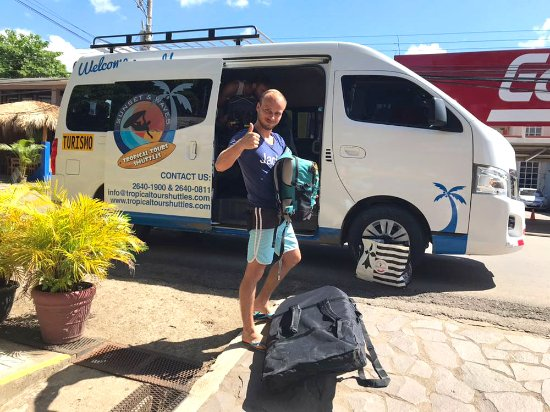 Montezuma, Costa Rica: Tropical Tours Shuttle bus and happy clients after arrival