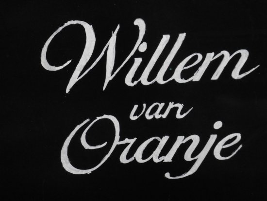 Grand Cafe Willem van Oranje : inscription de l'enseigne à l'intérieur du restaurant