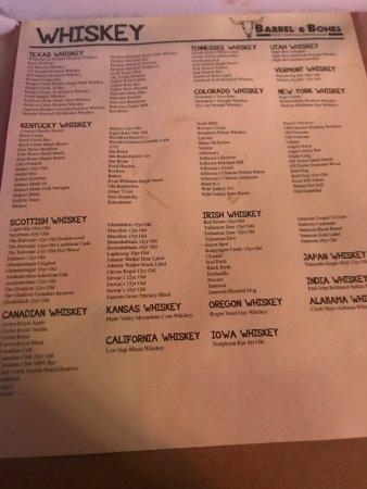 The Colony, TX: Whiskey menu