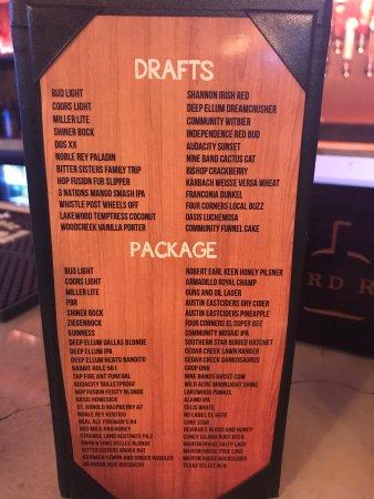 The Colony, TX: Beer menu