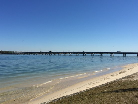 The famous Bribie Island Bridge. Short stroll along the fantastic foreshore footpath.