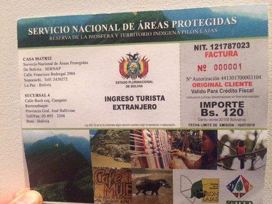 Beni Department, Bolivia: Voor het park moet entree betaald worden. Dit kan in Rurrenabaque.