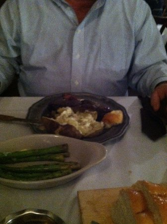 Ponca City, OK: 12 ounce rib eye, asparagus and loaf of bread they served with dinner.