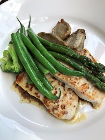Eves on the River: swordfish with greens and olive paint