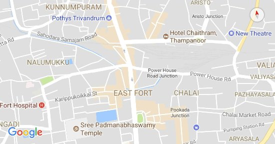 Map Of Location location map   Picture of Sree Padmanabhaswamy Temple, Trivandrum  Map Of Location