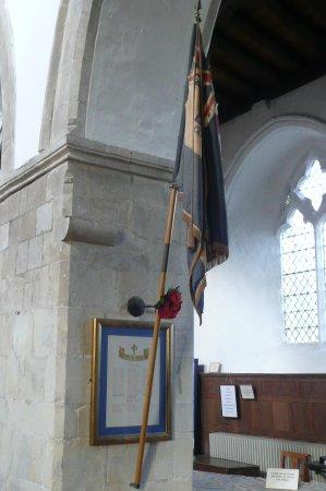 Elham, UK: War memorial and flag