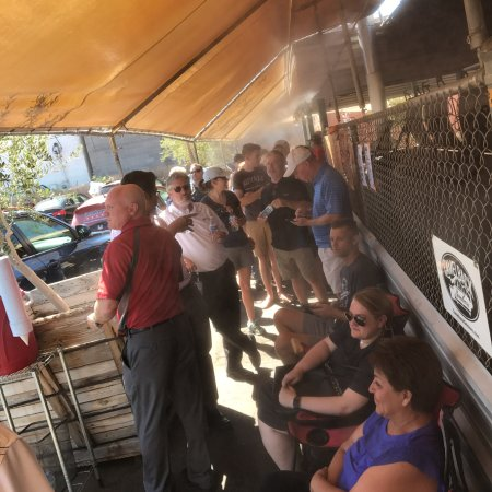 Little Miss Bbq: The line. Free water is available cuz it gets hot out there.