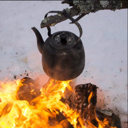 Jarvenpaa, Finland: Coffee on the camp fire