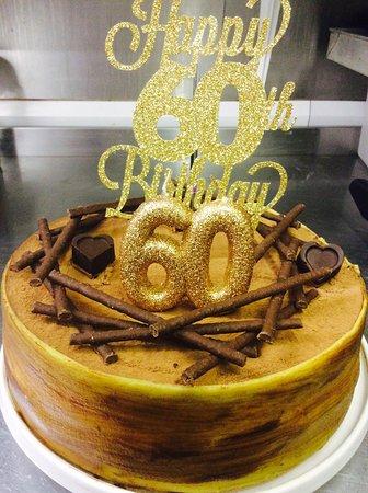 """Alderney, UK: Birthday cake """"tiramisu"""""""