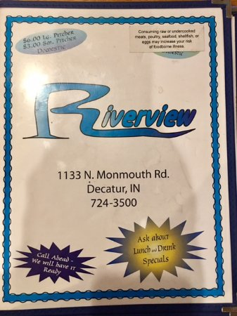 Decatur, IN: Riverview Menu
