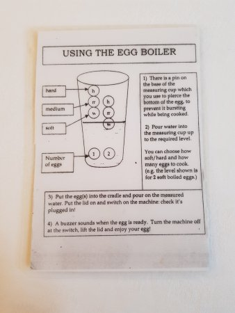 The instructions for using the egg boiler - Picture of Hotel Falken ...