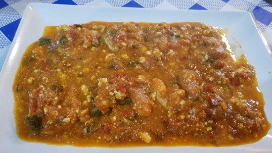 La Matanza de Acentejo, Spanien: Lamgostimos con salsa griega, feta, tomate y albaca