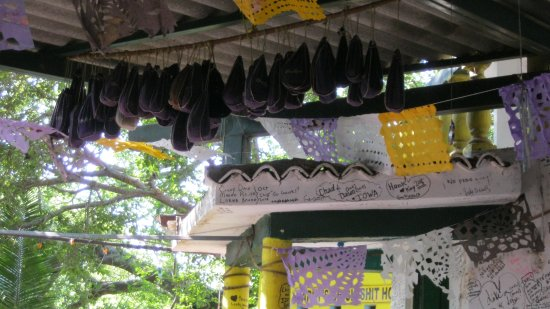 Ana Banana Bar & Grill : Be sure to ask about the Crown Royal bags hanging from the ceiling