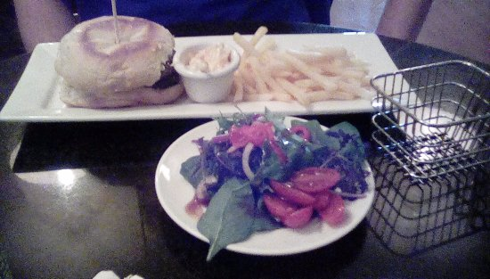 Burscough, UK: Double burger tries and salad Hubby's lunch