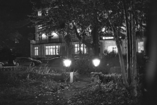Best western hotel royale the hotel by night bw 35mm film