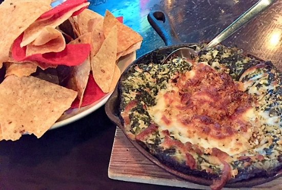 Rockville Centre, NY: Spinach dip. Light & crunchy tortilla chips, very spinachy dip but too salty for me