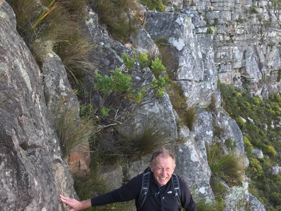 Hike Table Mountain: Phil at the top of one of the steep technical sections!