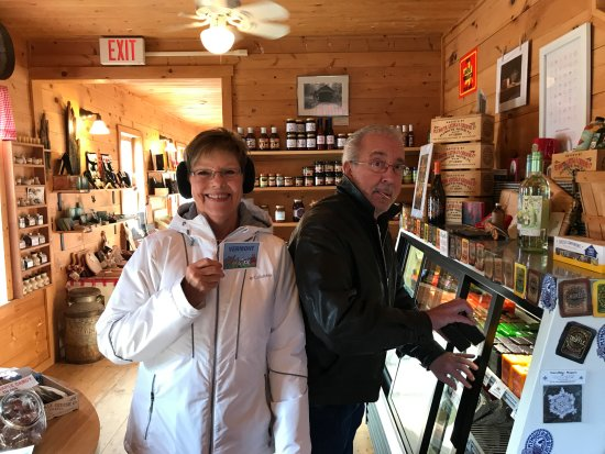 Plymouth, VT: Our friends buying cheese and loving the stickers!