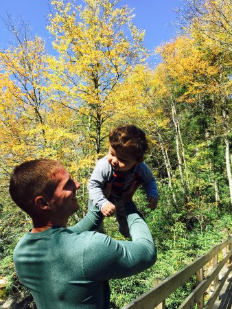 Chimney Tops: fun with my son near the start of the hike