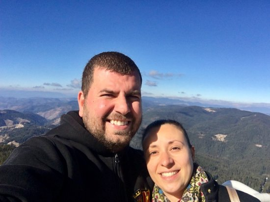 Pamporovo Ski Resort: Me and my wife at the Snezhanka Tower.